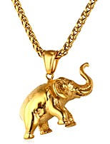 cheap -Men's Women's Elephant Animals Casual Pendant Necklace , Stainless Steel Pendant Necklace , Daily Ceremony