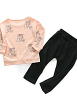 cheap -Baby Girls' Daily Letter Clothing Set, Cotton Spring Simple Long Sleeves Blushing Pink