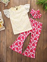 cheap -Girls' Daily Going out Solid Floral Clothing Set, Cotton Polyester Spring Summer Short Sleeves Cute Casual Yellow