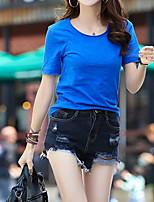 Недорогие -Для женщин Повседневные Лето Футболка Круглый вырез,На каждый день Однотонный Короткие рукава,Хлопок,Плотная
