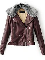 Недорогие -Жен. Повседневные Зима Осень Обычная Кожаные куртки Рубашечный воротник, Простой Контрастных цветов Полиуретановая