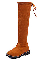 Недорогие -Девочки обувь Нубук Зима Осень Удобная обувь Модная обувь Ботинки Сапоги выше колена для Повседневные Черный Верблюжий
