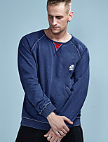 cheap -Men's Daily Sports Casual Active Street chic Sweatshirt Solid Round Neck Micro-elastic Cotton Polyester Long Sleeve Winter Spring/Fall