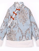 abordables -Robe Fille de Quotidien Fleur Coton Polyester Printemps Toutes les Saisons Manches Longues Mignon Bleu