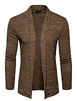 cheap -Men's Daily Going out Casual Regular Cardigan,Solid Shirt Collar Long Sleeves Polyester Spring Fall Opaque Micro-elastic