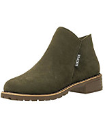 cheap -Women's Shoes Nubuck leather PU Spring Fall Comfort Bootie Boots Low Heel Booties/Ankle Boots for Casual Army Green Brown Black