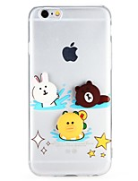 abordables -Funda Para Apple iPhone 7 iPhone 6 Transparente Diseños Manualidades Cubierta Trasera Dibujo 3D Animal Caricatura Suave TPU para iPhone 7