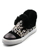 Недорогие -Для женщин Обувь Кожа других животных Зима Осень Удобная обувь Зимние сапоги Ботинки На плоской подошве Ботинки для Повседневные Черный