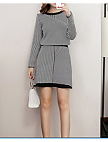 cheap -Women's Daily Casual Winter Set Skirt Suits,Striped Round Neck Long Sleeve Polyester