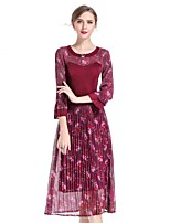 cheap -8CFAMILY Women's Party Daily Boho Swing Dress,Floral Round Neck Midi Half Sleeve Polyester Spring Summer Mid Rise Stretchy Thin