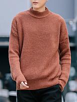 Недорогие -Для мужчин Повседневные На каждый день Короткий Пуловер Однотонный,Круглый вырез Длинный рукав Полиэстер Зима Осень Плотная