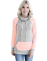 cheap -Women's Daily Casual Fall T-shirt,Striped Turtleneck Long Sleeve Polyester