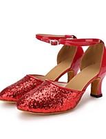 "cheap -Women's Modern Paillette Leatherette Heel Indoor Paillette Customized Heel Red 2"" - 2 3/4"" Customizable"