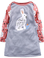 cheap -Girl's Daily Holiday Patchwork Dress,Cotton All Seasons Long Sleeves Cute Casual Gray