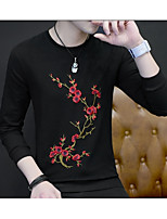 cheap -Men's Plus Size Going out Casual Hoodie & Sweatshirt Print Round Neck Necklace Not Included Micro-elastic Polyester Long Sleeve Spring