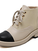 preiswerte -Damen Schuhe PU Winter Herbst Komfort Springerstiefel Stiefel Blockabsatz Booties / Stiefeletten für Normal Mandelfarben