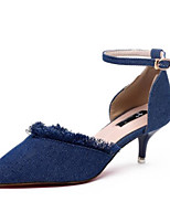 cheap -Women's Shoes Denim Summer Comfort Heels Stiletto Heel Closed Toe for Casual Outdoor Blue Dark Blue