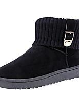 preiswerte -Damen Schuhe Nubukleder Winter Herbst Komfort Schneestiefel Stiefel Niedriger Heel Booties / Stiefeletten für Normal Schwarz Grau Rosa