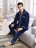 abordables -Costumes Pyjamas Homme,Couleur Pleine Epais Polyester Marine