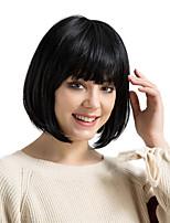 cheap -Human Hair Capless Wigs Human Hair kinky Straight Bob Haircut With Bangs Natural Hairline Medium Machine Made Wig Women's