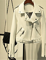 Недорогие -Для женщин Повседневные Зима Кожаные куртки Воротник Питер Пен,Винтаж Однотонный Обычная Длинные рукава,Другое