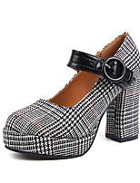 preiswerte -Damen Schuhe Stoff Winter Herbst Komfort High Heels Blockabsatz für Party & Festivität Schwarz