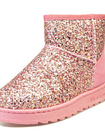 cheap -Women's Shoes PU Winter Comfort Snow Boots Boots Low Heel Round Toe Booties/Ankle Boots for Casual Silver Pink