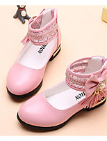 cheap -Girls' Shoes Synthetic Microfiber PU Spring Fall Flower Girl Shoes Tiny Heels for Teens Heels for Casual Pink Black White