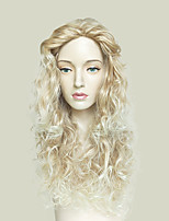 cheap -Blonde Wig Long Kinky Curly Synthetic Hair Ombre Highlights Full No Bang Heat Resistant Wig Glueless Wavy Cosplay Wig