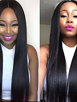 cheap -Dark Black Color Silk Straight Human Virgin Hair Wig with Baby Hair for Black Women