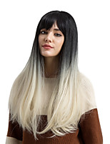 cheap -Synthetic Wig Straight Ombre Hair With Bangs Capless Women's White Black Natural Wigs