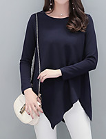 cheap -Women's Daily Casual Fall T-shirt,Solid Round Neck Long Sleeve Cotton Opaque