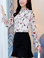cheap -Women's Going out Work Street chic Spring BlousePrint Stand Long Sleeve Polyester Opaque