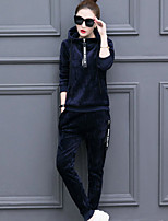 cheap -Women's Daily Sports Casual Winter Hoodie Pant Suits,Print Hooded Long Sleeve Polyester