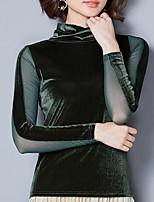 abordables -Tee-shirt Femme,Couleur Pleine Sortie Rétro Automne Manches longues Col Ras du Cou Polyester Opaque