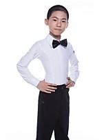cheap -Latin Tops Boys' Performance Spandex Satin Bow Long Sleeve Natural Tops