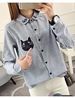 Недорогие -Для женщин На каждый день Офис Весна/осень Рубашка Квадратный вырез,Уличный стиль Однотонный Длинный рукав,Хлопок