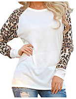 cheap -Women's Going out Street chic Blouse,Leopard Round Neck Long Sleeve Polyester