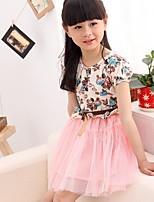 cheap -Girl's Daily Geometric Dress,Cotton Summer Short Sleeves Cartoon Blushing Pink