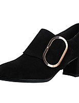 cheap -Women's Shoes Suede Spring Summer Comfort Bootie Heels Chunky Heel Square Toe Buckle for Casual Party & Evening Black Wine