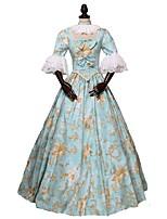 preiswerte -Rokoko Viktorianisch Kostüm Damen Erwachsene Austattungen Blau Vintage Cosplay 100% natürliche Inhaltsstoffe 3/4 Ärmel Puffärmel/Ballon