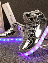 cheap -Girls' Shoes Patent Leather Customized Materials Winter Spring Light Up Shoes Comfort Sneakers Walking Shoes LED Hook & Loop Lace-up for