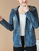 cheap -Daily Casual Winter Denim Jacket,Solid Round Neck Long Sleeve Long Cotton Acrylic Oversized