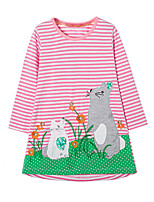 cheap -Girl's Daily Striped Patchwork Dress,Cotton Spring Fall Long Sleeves Cute Casual Cartoon Blushing Pink