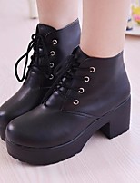 cheap -Women's Shoes PU Winter Fall Comfort Combat Boots Boots Chunky Heel Booties/Ankle Boots for Casual White Black