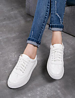 cheap -Women's Shoes PU Spring Fall Comfort Sneakers Flat Closed Toe for Casual Outdoor White
