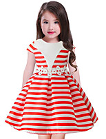 cheap -Girl's Striped Dress,Cotton Polyester Sleeveless Casual Yellow Red Blue