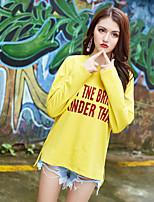 economico -T-shirt Da donna Quotidiano Casual Per tutte le stagioni,Alfabetico Rotonda Poliestere Maniche lunghe