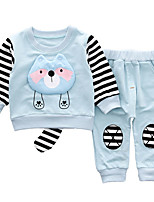 cheap -Baby Unisex Daily Striped Clothing Set,Cotton All Seasons Simple Long Sleeve Yellow Blushing Pink Blue