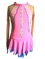 cheap -Figure Skating Dress Women's Girls' Ice Skating Dress Pink Spandex Stretchy Skating Wear Sequin Long Sleeves Figure Skating
